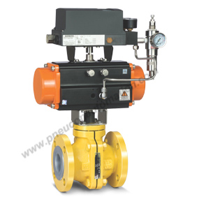 PFA FEP Lined Ball Valve with Rotary Actuator